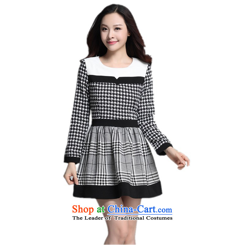 Xl Women's dresses autumn 2015 replacing Korean citizenry chidori grid stamp stitching OL Sau San short skirts Foutune of video thin female skirt thick�L燼bout 155-165 mm yellow catty