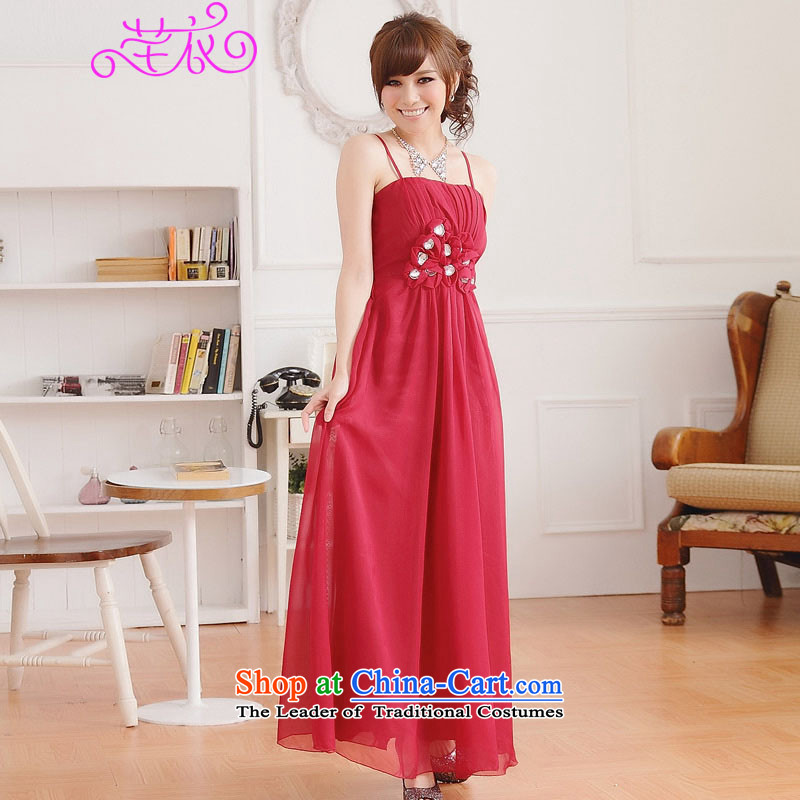 Xl long skirt elegant 2015 Western Wind red carpet-soo manually staple staple spend long drilling small evening dresses thick sister strap dresses red large 3XL 160-180 catty