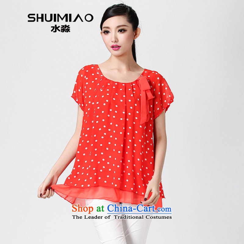 The representative of the water for larger women 2014 Summer new thick MM video thin chiffon sweet short-sleeved T-shirt S14XC1240 RED L