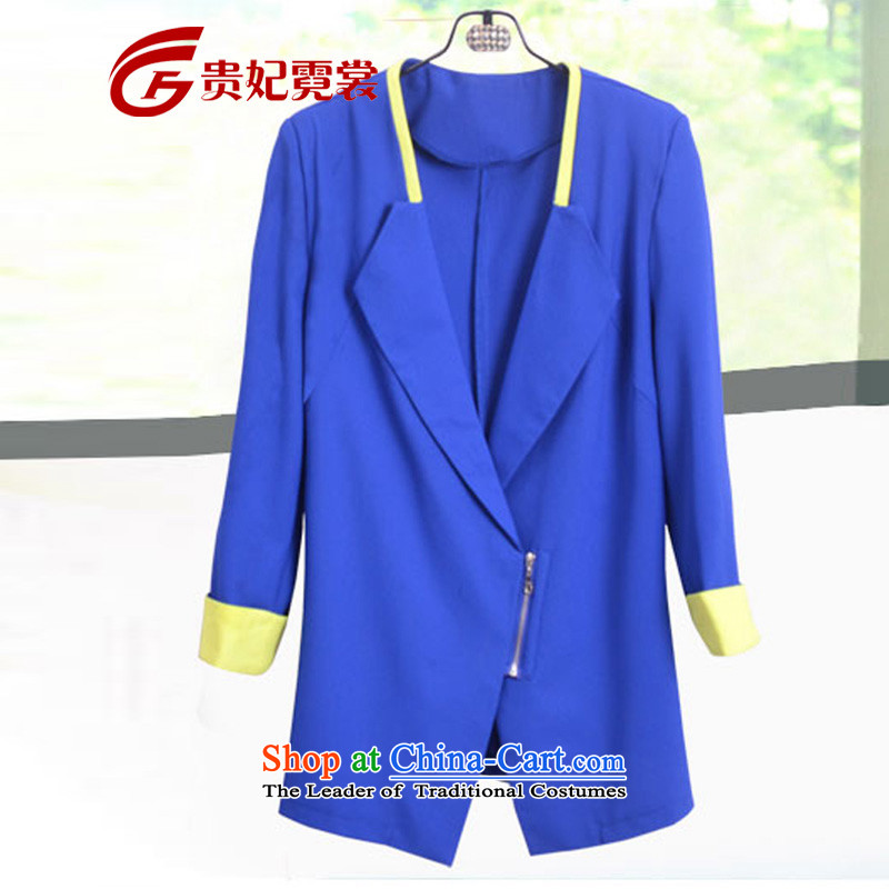 2015 mm Spring Summer thick new extra women small business suit spell color video 7 cuff thin 200 catties to xl small suit coats 988 Blue燣