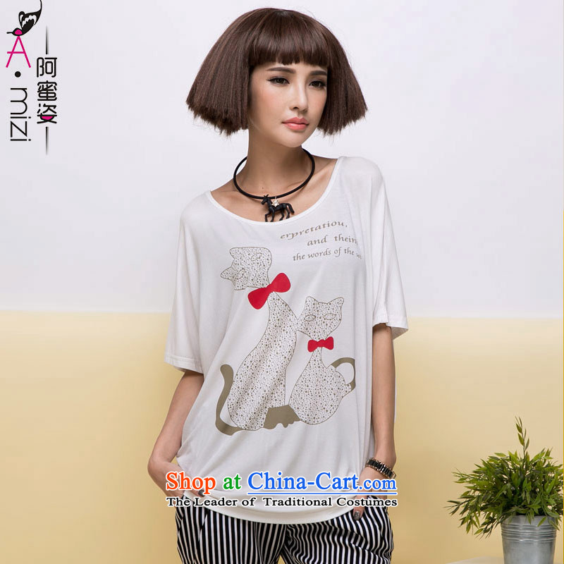 Amista Asagaya Gigi Lai Fat mm larger female new summer sun graphics thin Cat Street metered poverty round-neck collar bat sleeves loose T-shirt female 8510 White燲XL