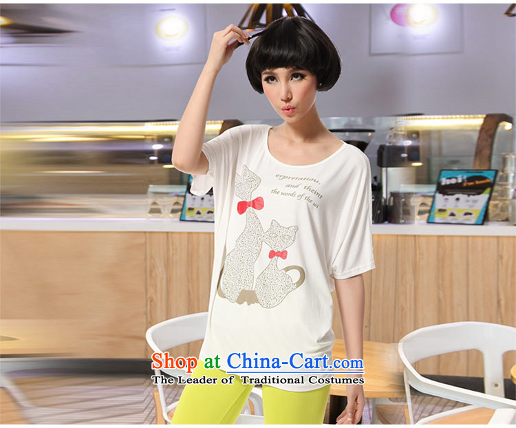 Amista Asagaya Gigi Lai Fat mm larger female new summer sun graphics thin Cat Street metered poverty round-neck collar bat sleeves loose T-shirt female White XXL pictures, 8510 prices, brand platters! The elections are supplied in the national character of distribution, so action, buy now enjoy more preferential! As soon as possible.
