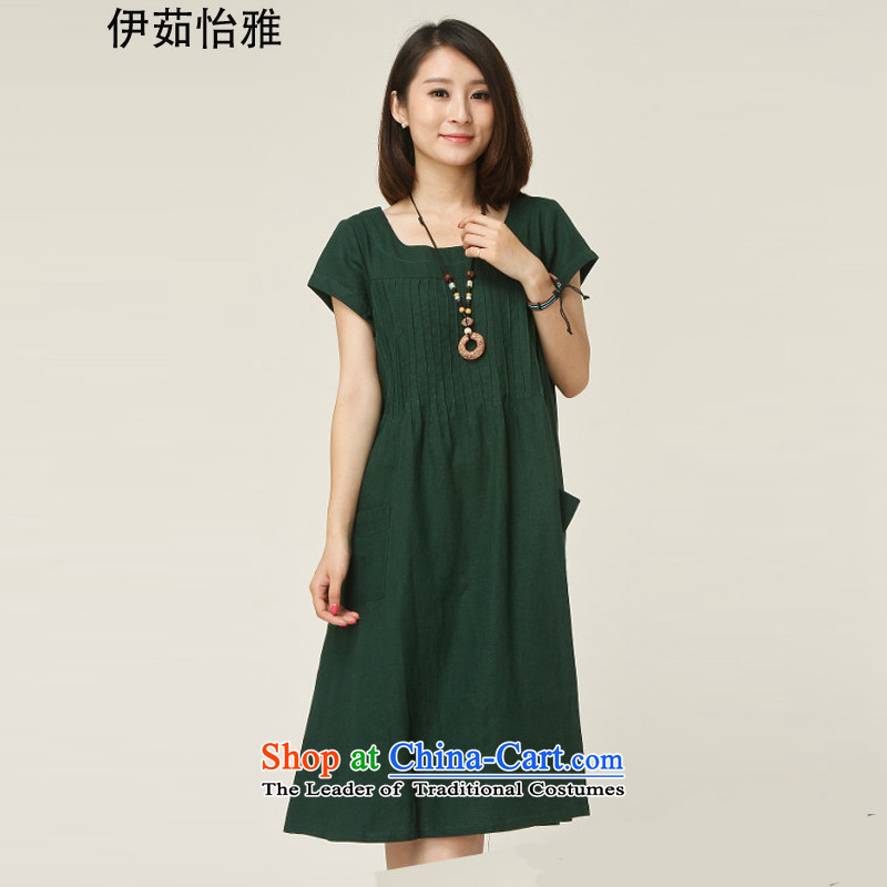 El-ju Yee Nga new summer female Korean fashion, Hin thick thin large female cotton linen dresses YJ9388 dark green燣