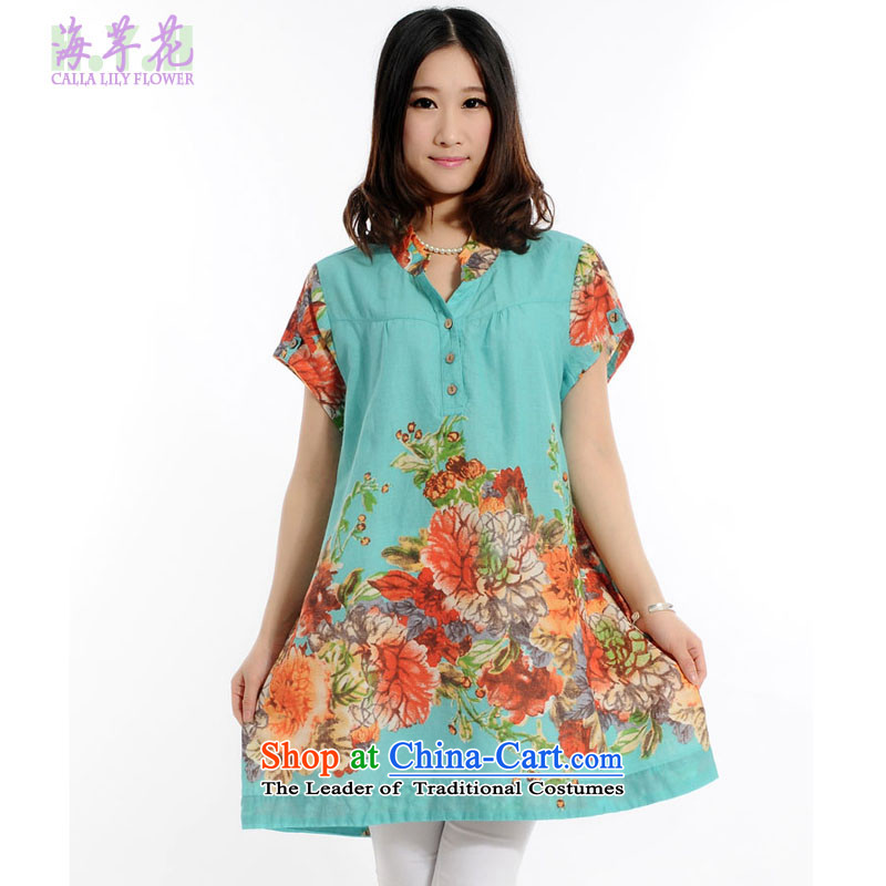 The sea route to spend the new Small collar short-sleeved stamp fertilizer greatly code shirt 4705-3 water green�L