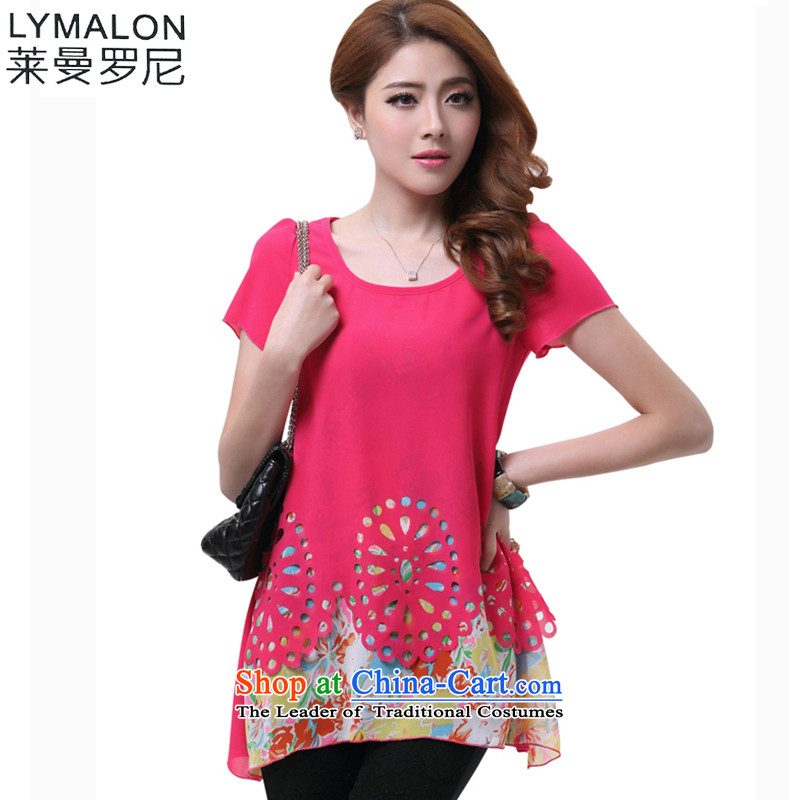 The lymalon lehmann thick, Hin thin 2015 Summer new Korean version of large numbers of female liberal false two short-sleeved T-shirt chiffon 1609 suit燲L