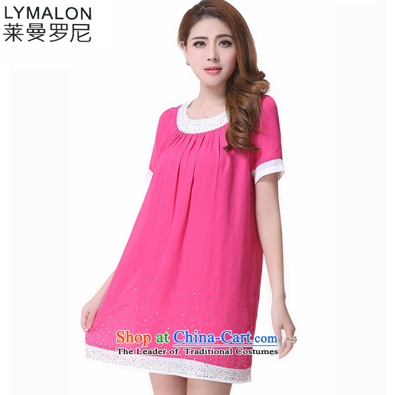 The lymalon lehmann thick, Hin thin 2015 Summer new Korean modern liberal xl female round-neck collar short-sleeved dresses in Red�L2611