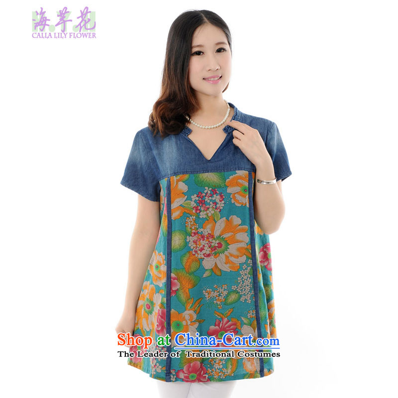 The sea route to spend the new large ethnic stamp larger dresses 4705-E green�L