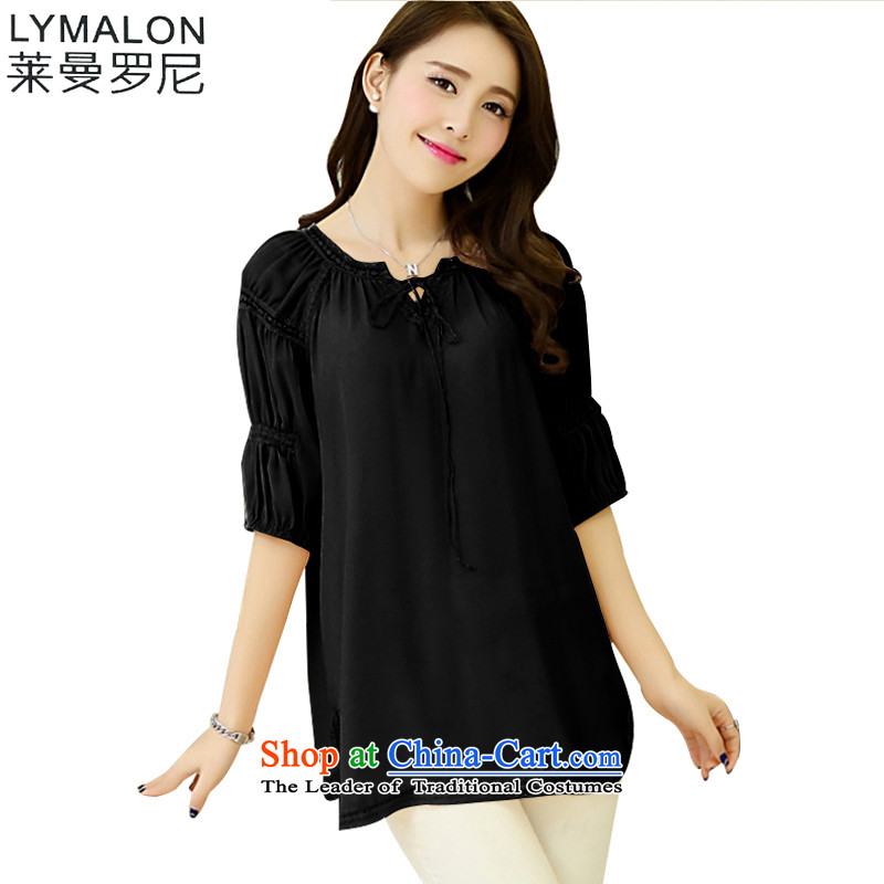 The lymalon lehmann thick, Hin thin 2015 Autumn new plus hypertrophy code as round-neck collar decorated female short-sleeved T-shirt 1,085 chiffon shirt black�L