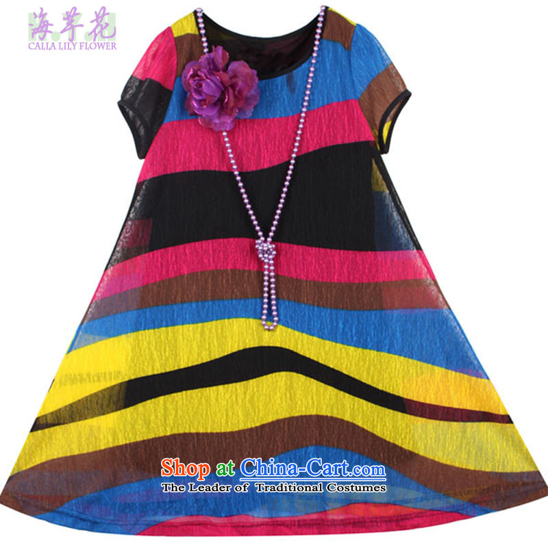 The sea route to spend the new round-neck collar rainbow streaks larger dresses Hm-z better red bar燤