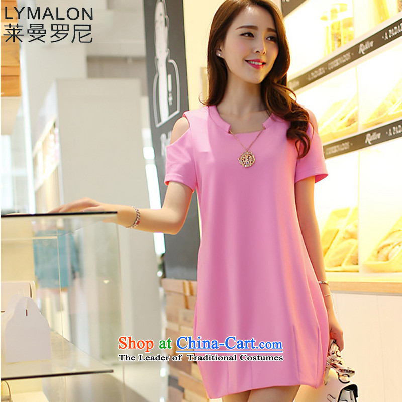 The lymalon lehmann thick, Hin thin 2015 Summer new thick Korean plus biventricular hypertrophy mm female decorated code seen wearing short-sleeved dresses 3831 pink�L