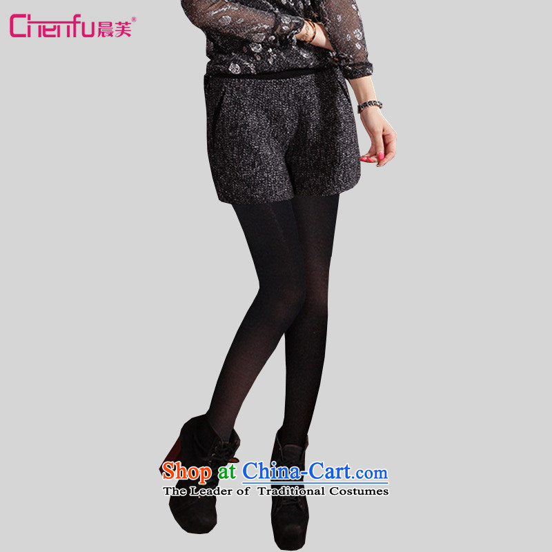Morning to 2015 to increase the number of women fall new mm thick snow? the stitching graphics thin Sau San shorts, through forming the suit pants black trousers 3XL boots recommendations 150-165¨catty