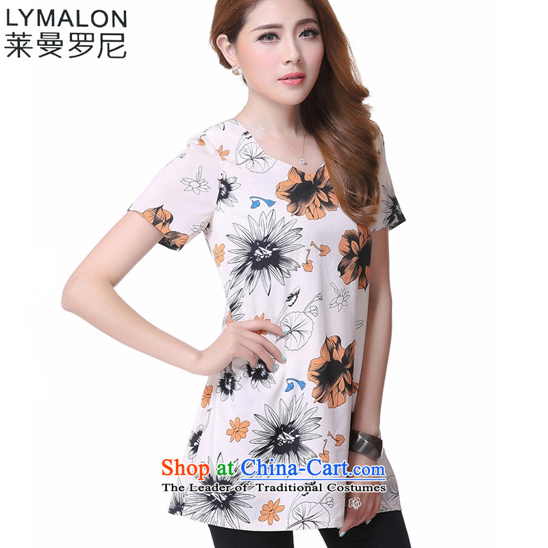 The lymalon lehmann thick, Hin thin 2015 Summer new Korean women's extra short-sleeved T-shirt chiffon loose coat 1612 suit燲L