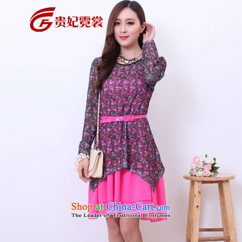 2014 mm Spring Summer thick new extra female Korean womens dresses engraving stamp to Sau San two kits xl dresses 800 pictures color M