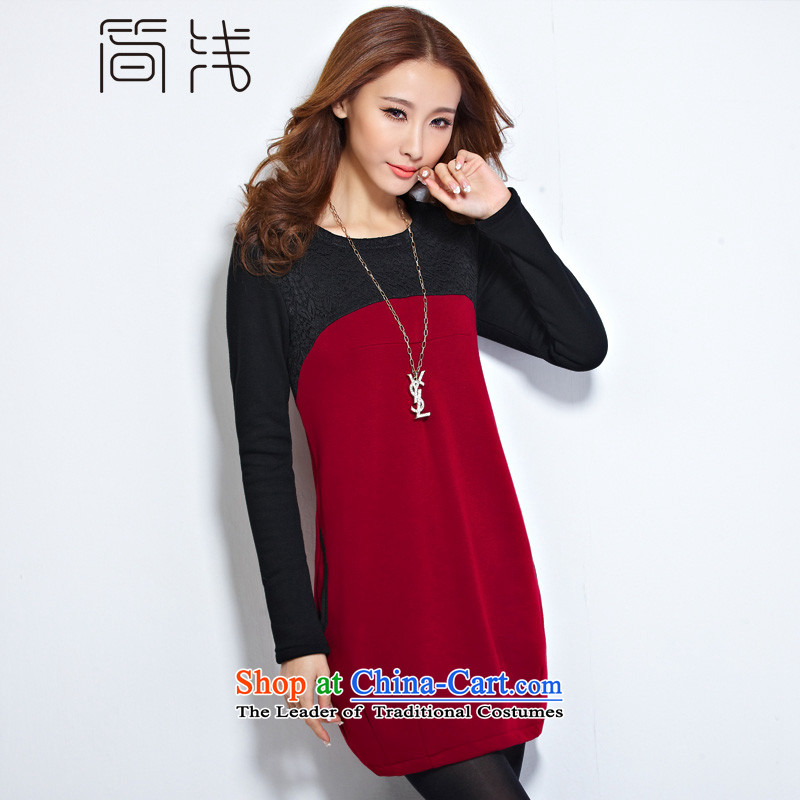 In short light autumn 2015 new women's larger female plus lint-free thick lace dresses in forming the long sleeved clothes female 1178 wine red 4XL