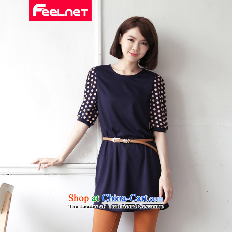 Clearance feelnet large Korean women's largest video thin code Skirts 7 cuff skirts large point wave dresses 2101 large dark blue 4XL
