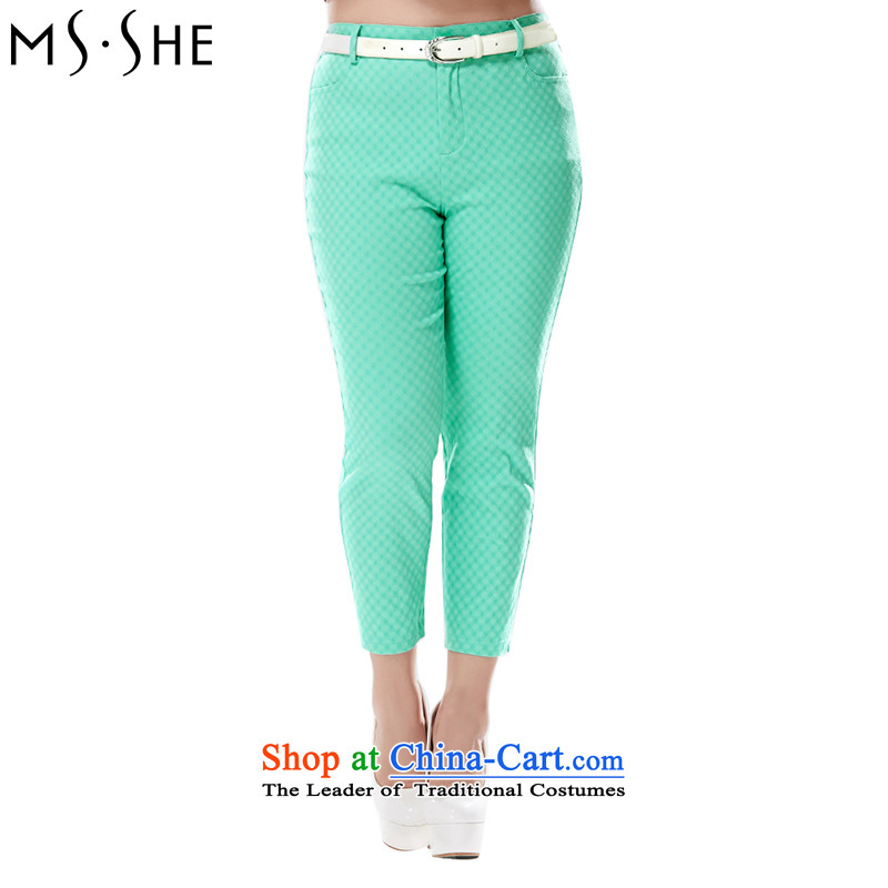 Large msshe women 2015 summer in New High elastic waist and rayon 9 70 17 Bright green trousers Sau San� T2