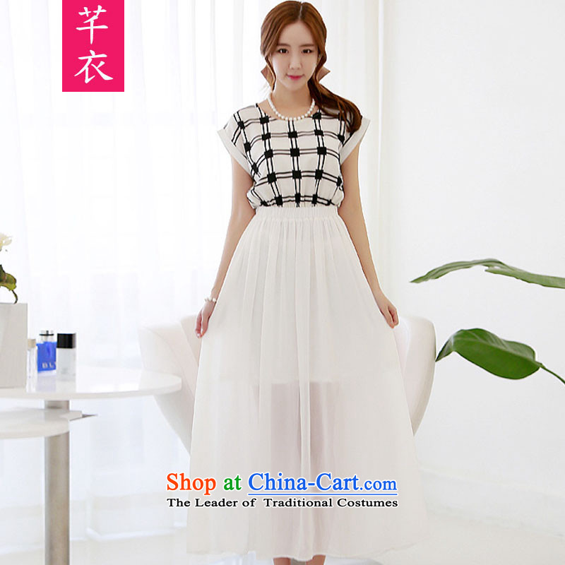 Xl kumabito female thick sister 2015 new summer Korean bat sleeves latticed stitching urban women Sau San Feng Xue Long skirt woven dresses White燤