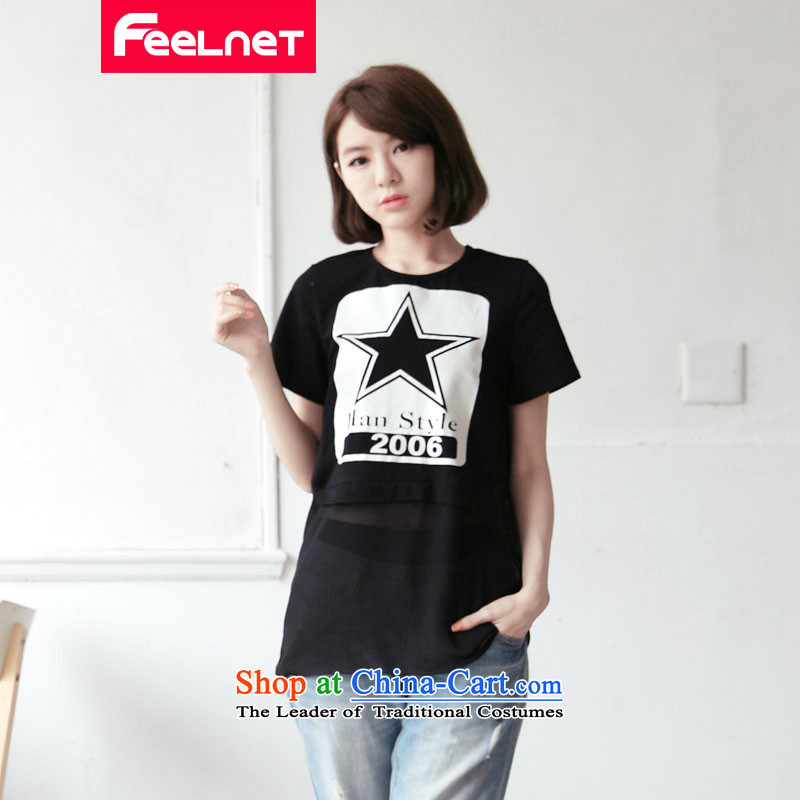 Clearance feelnet xl women 2015 Summer new thick mm video short-sleeved T-shirt stamp thin large T-shirt larger 6XL 2137