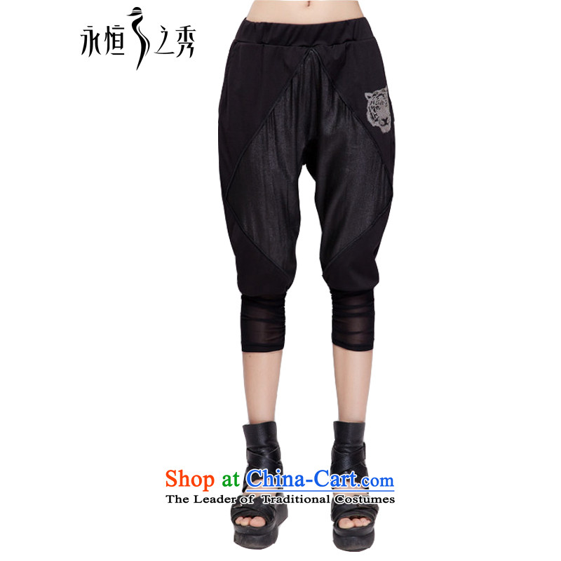 The Eternal-soo to xl female Capri thick sister 2015 Summer new Korean version in the stylish black waist video thin Harun trousers casual pants in black trousers 3XL