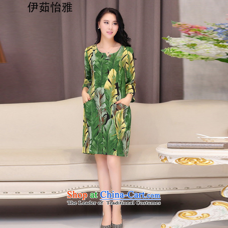 El-ju Yee Nga thick, Hin Thin 4XL to increase short-sleeved blouses and large dresses RJ069 Green Leaf燲XXXL