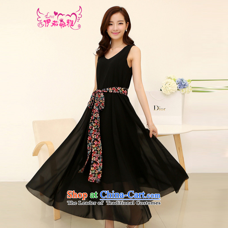 El-ju Yee Nga summer larger female thick sister graphics slender skirt chiffon dresses Bohemia beach skirt RJ165燲XXL black