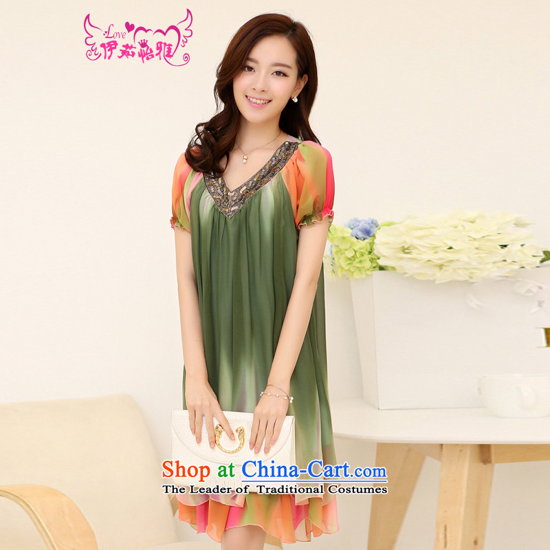 El-ju Yee Nga thick, Hin thin stylish mother load gradients large short-sleeved blouses chiffon dresses RJ9162 discolored green燲L