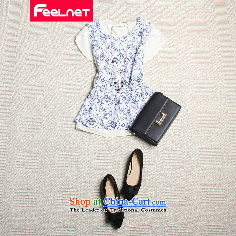 Clearance爁eelnet larger female graphics thin Foutune of larger T-shirt thick mm larger lace shirt chiffon large T-shirt 2130 blue flowers larger 6XL