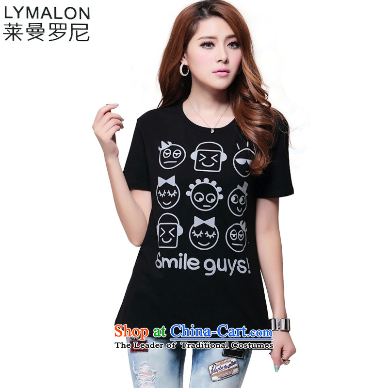 The lymalon lehmann thick, Hin thin Summer 2015 new product version of large Korean women in the Code Long Short-sleeved T-shirt and stylish tops 1,630�L Black