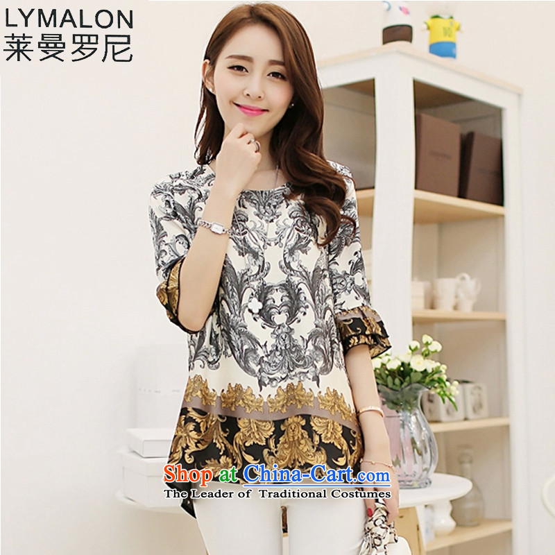 The lymalon lehmann thick, Hin thin 2015 Summer new Korean version of large numbers of ladies fashion retro stamp chiffon shirt shirt suit 3XL 1621