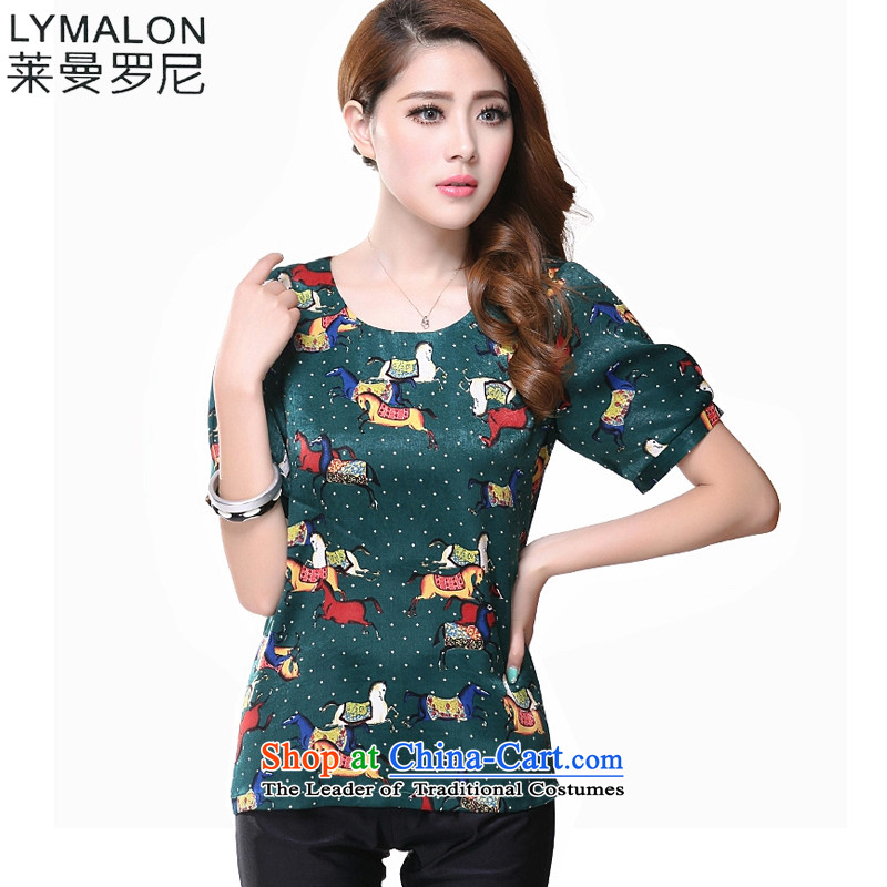 The lymalon lehmann thick, Hin thin 2015 Summer new Korean version of large numbers of ladies fashion retro short-sleeved T-shirt stamp shirt 1615 Green�L