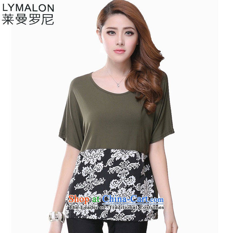 The lymalon lehmann thick, Hin thin 2015 Summer new Korean version of large numbers of ladies fashion loose short-sleeved T-shirt cotton T-shirt and brown�L 1616