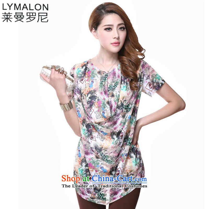 The lymalon lehmann thick, Hin thin Summer 2015 new product version of large Korean women's code fashion, long, short-sleeved T-shirt shirt 1619�L Suit