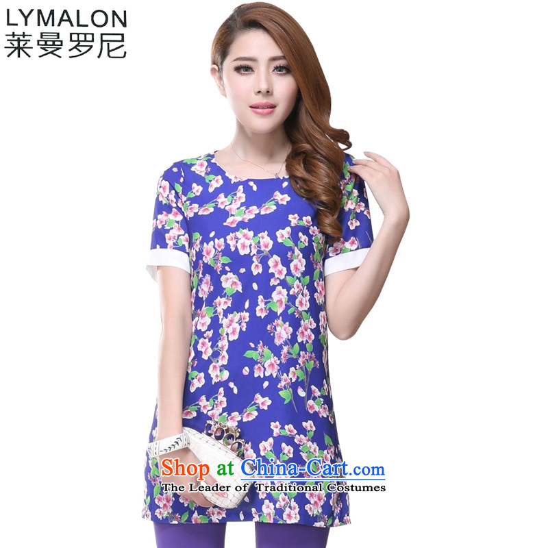 The lymalon lehmann thick, Hin thin 2015 summer edition of the new Korean women's code hypertrophy stylish short-sleeved chiffon dresses 2618 Blue�L