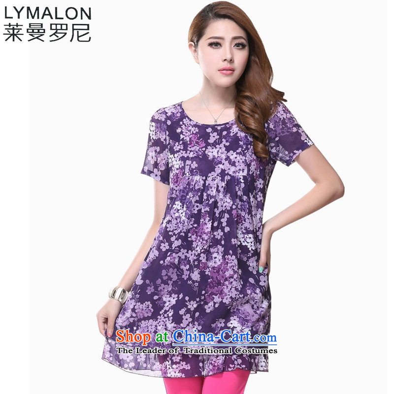The lymalon lehmann thick, Hin thin 2015 Summer new Korean version of large numbers of ladies fashion floral chiffon short-sleeved dresses 2,615 purple燲L