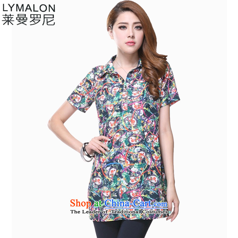 The lymalon lehmann thick, Hin thin Summer 2015 new product version of large Korean women's code short-sleeved shirt, long in stamp shirt 1618�L Suit