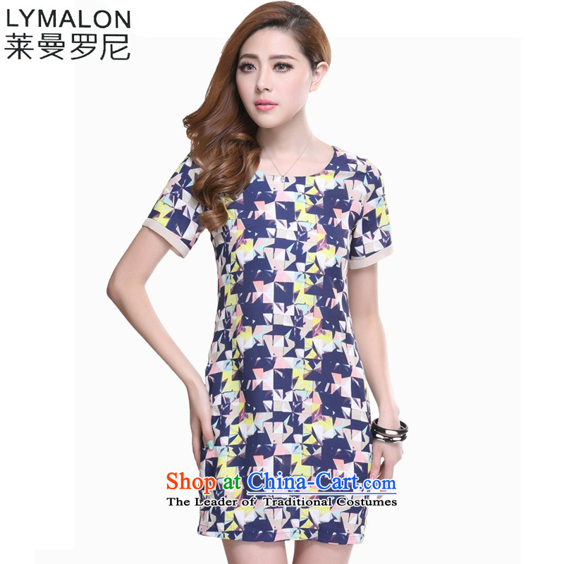 The lymalon lehmann thick, Hin thin 2015 Summer new Korean version of large numbers of ladies fashion sense of short-sleeved chiffon dresses 2616 suit燲L