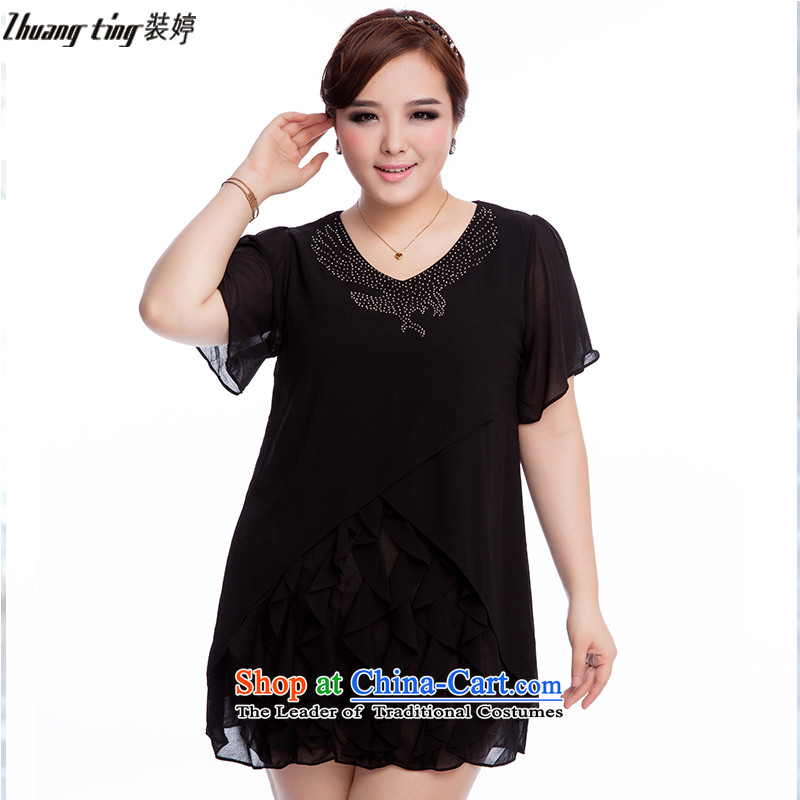 Replace, Hin thick zhuangting ting thin 2015 Summer new product version of large Korean women's stylish relaxd code short-sleeved chiffon dresses�L 1606 Black