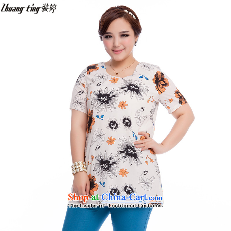 Replace, Hin thick zhuangting ting thin 2015 Summer new product version of large Korean women's code short-sleeved T-shirt chiffon stamp shirt 1612 suit�L