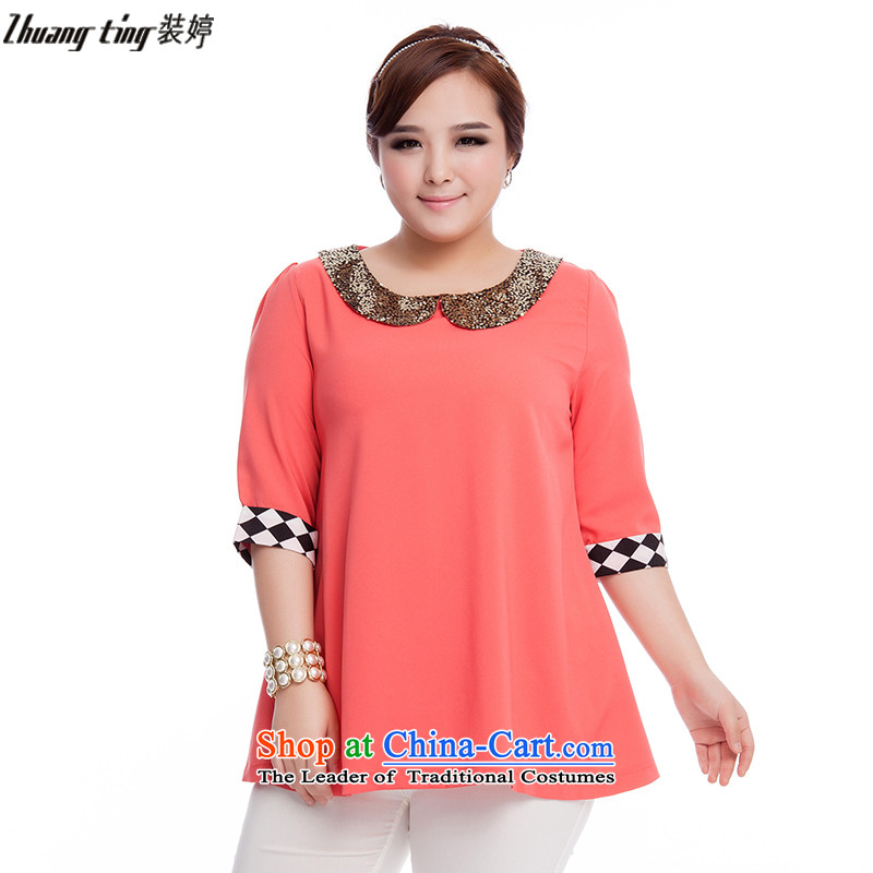 Replace, Hin thick zhuangting ting thin spring and summer 2015 new product version of large Korean women in code cuff stylish shirt shirt Q3023 chiffon pink�L