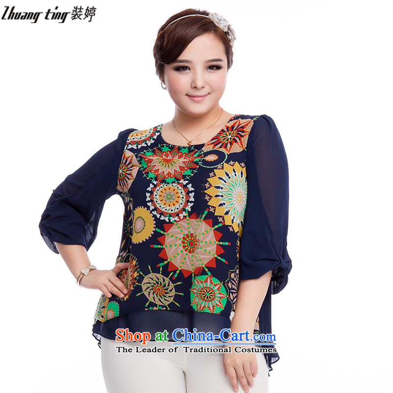 Replace, Hin thick zhuangting ting thin autumn 2015 new product version of large Korean women's code of 7 to suit cuff stylish chiffon Netherlands 6030 dark blue�L