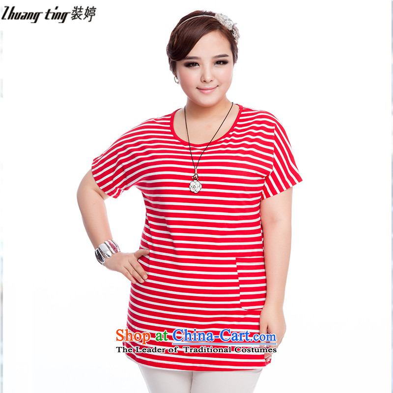 Replace, Hin thick zhuangting ting thin 2015 Summer new product version of large Korean female bat sleeves for the medium to long term, Striped Tee 6159 picture color燲L