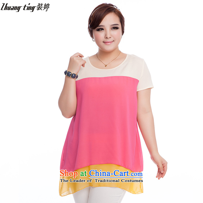 Replace, Hin thick zhuangting ting thin 2015 new summer products code women in the stitching long short-sleeved shirt S8032 chiffon better Red + Yellow燲L