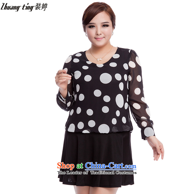 Replace, Hin thick zhuangting ting thin autumn 2015 new product version of large Korean women's code fashion round point long-sleeved chiffon dresses�L 3103 Black