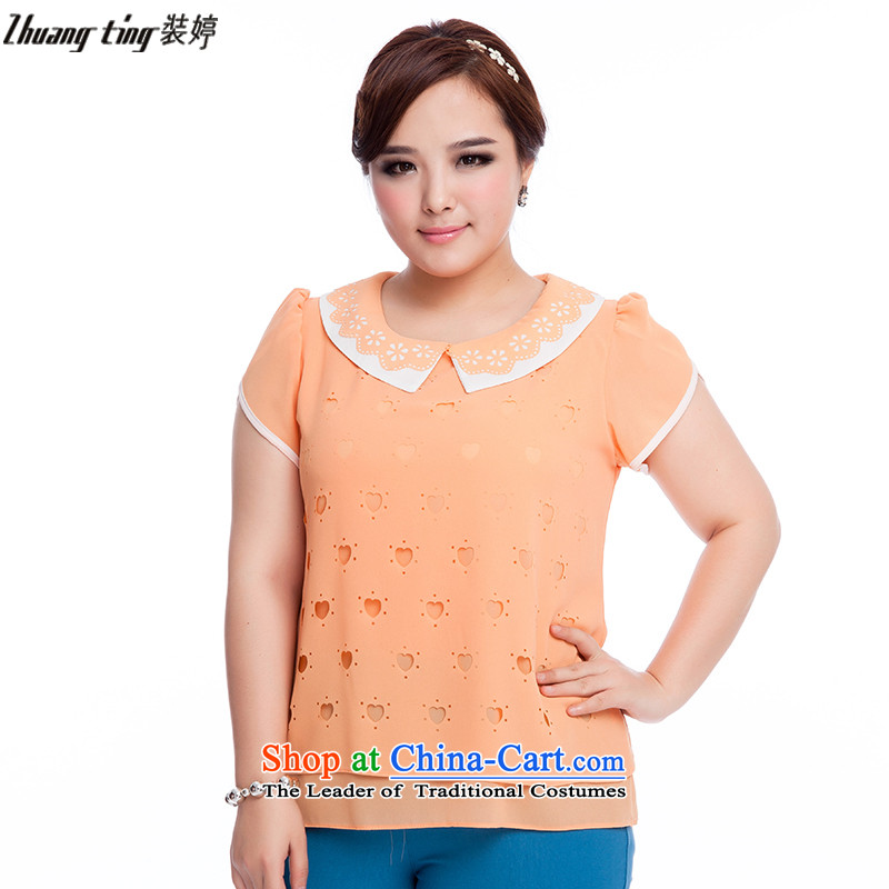 Replace, Hin thick zhuangting ting thin 2015 Summer new product version of large Korean women's code wild lace collar short-sleeve shirt Q6019 chiffon orange�L
