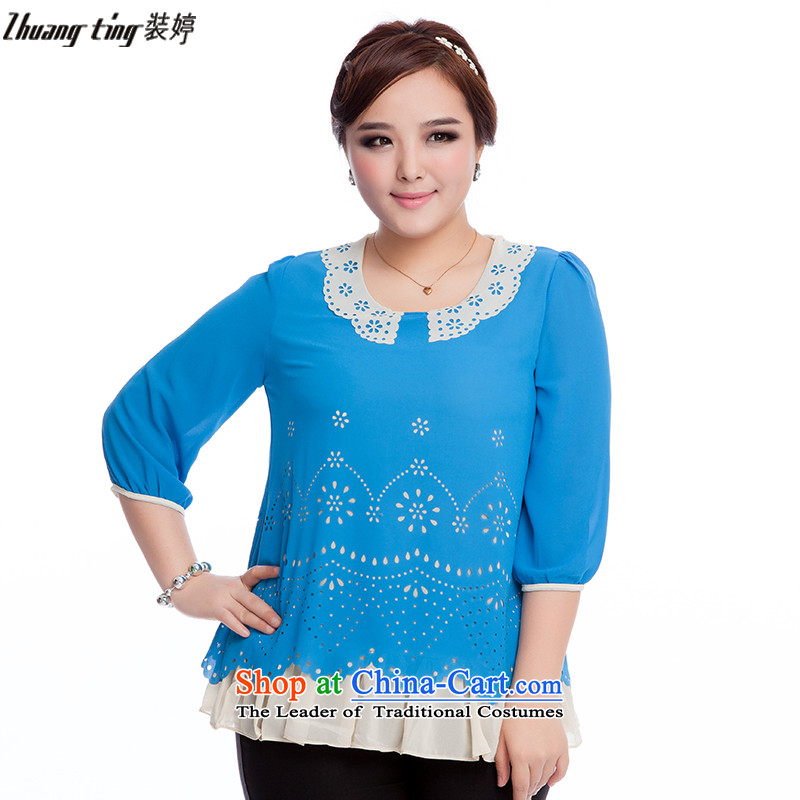 Replace, Hin thick zhuangting ting thin 2015 new products in the autumn large stylish seven women leave two sleeve shirts chiffon 6150 Blue�L