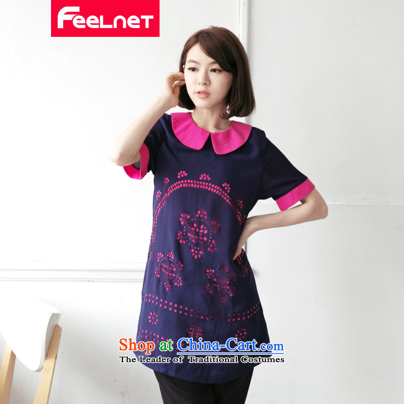 Clearance feelnet2015 xl thick mm summer new large graphics thin engraving large short-sleeved dresses large dark blue 5XL 2108