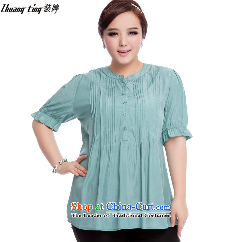 Replace, Hin thick zhuangting ting thin 2015 Summer new product version of large Korean code is smart casual dress short-sleeved T-shirt with round collar shirt 319 light green L