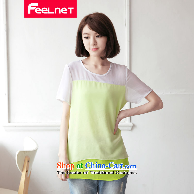 Clearancefeelnet thick mm2015 xl Women's Summer new graphics thin large short-sleeved T-shirt xl chiffon shirt 2,144 large yellow 5XL