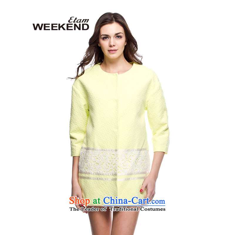 The?weekend ?lace engraving stitching coats??mustard yellow?165_38_M 14023401124