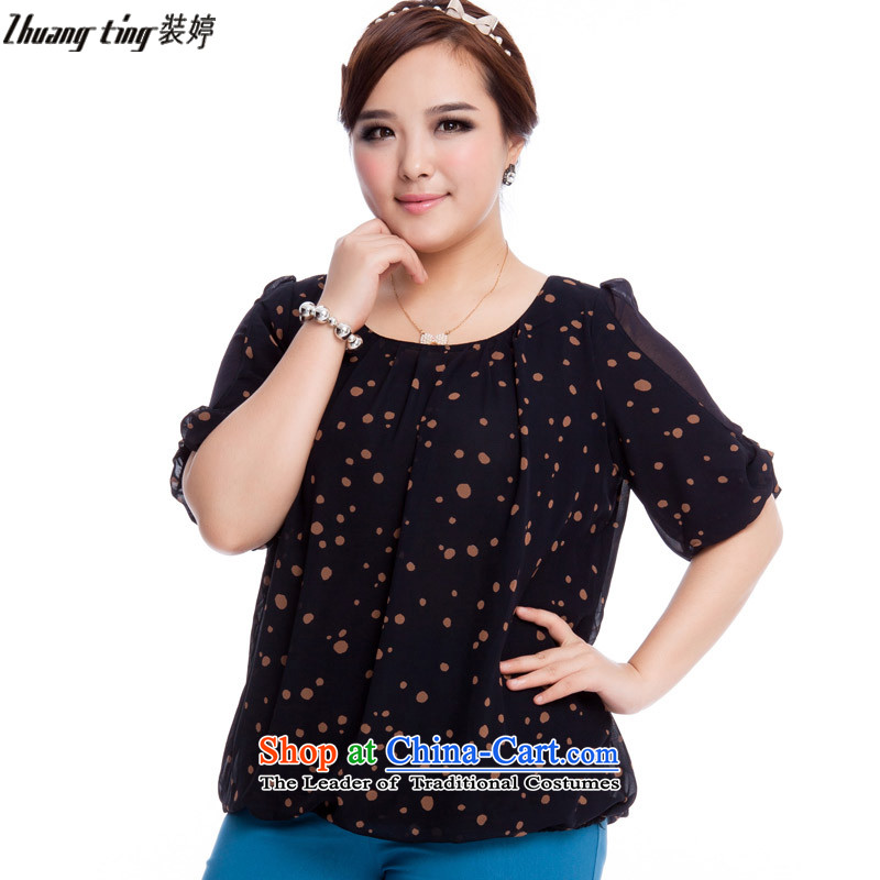 Replace, Hin thick zhuangting ting thin spring and summer 2015 new product codes for women in temperament and stylish cuff chiffon shirt Q6024 stamp blue燲L